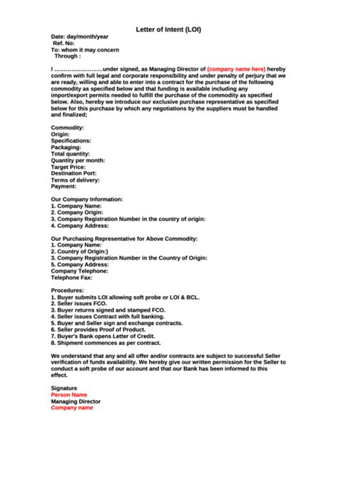 Letter Of Intent To Purchase Commodity sle letter of intent loi template printable pdf