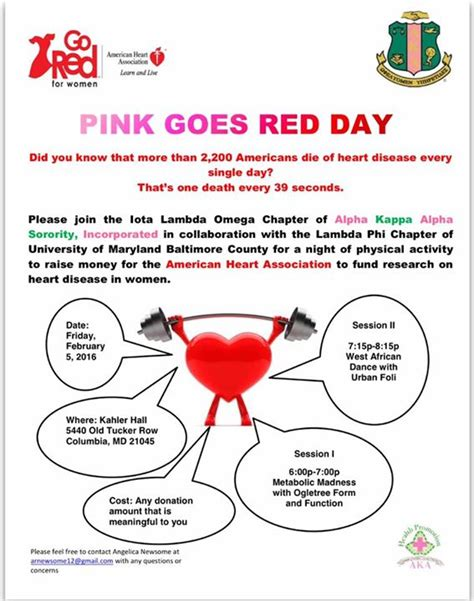 what goes with pink pink goes red physical activity event at kahler hall columbia