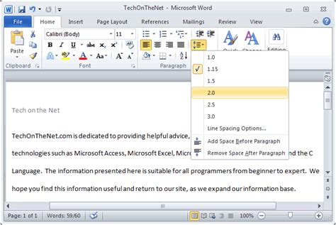 Dauble Spacy ms word 2010 space text
