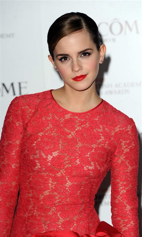 emma watson red dress emma watson braless wearing red see through lace dress at