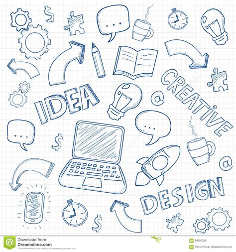 business doodle vector free business doodles set vector stock vector image 68690359