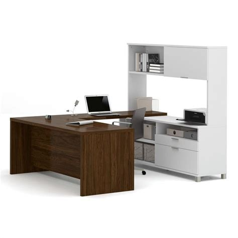 U Desk With Hutch Bestar Pro Linea U Desk With Hutch In White And Oak Barrel 120880 30
