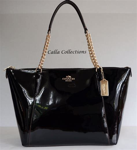 Purse Trend Black With A Touch Of Gold by New Coach Chain Smooth Patent Leather Tote Handbag