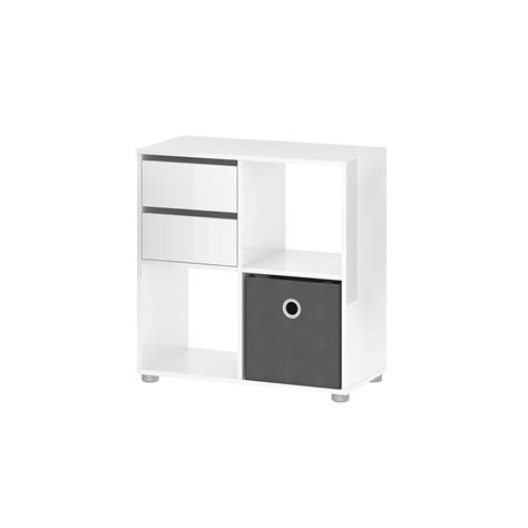 Tvilum Divide Bookcase With Cube White High Gloss White High Gloss Bookcase
