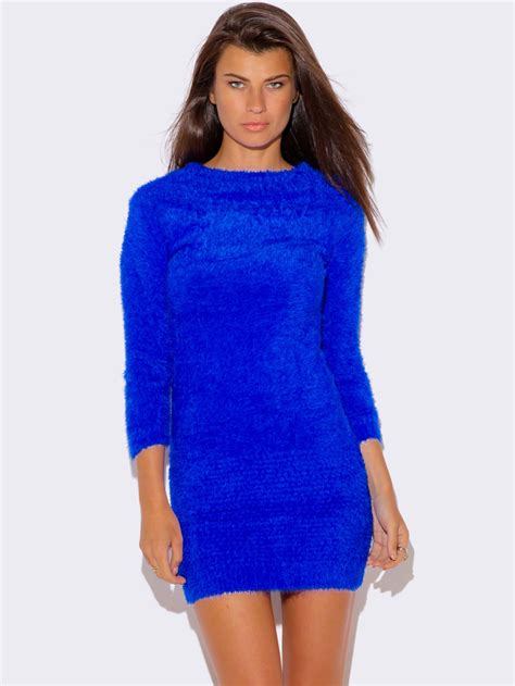 Sweater Dresses by Royal Blue Faux Fur Sweater Dress Modishonline