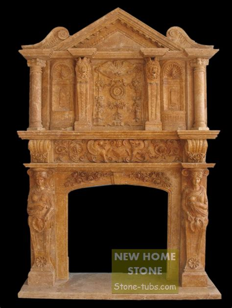 two layer fireplace mantel brown carving large wall