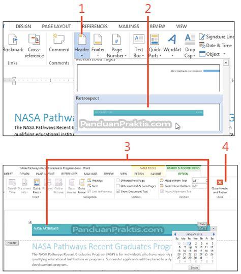 fungsi tab design pada header dan footer tools cara memasukkan header footer dan page number di word 2013