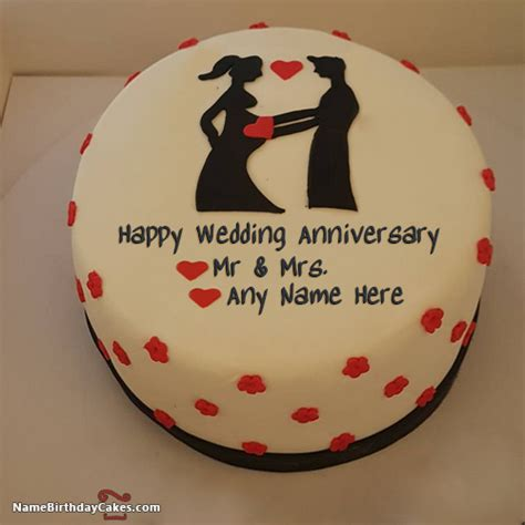 Wedding Anniversary Cake With Name by Decorated Happy Wedding Anniversary Cake With Name