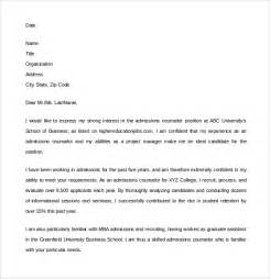 admissions counselor cover letter sle admission counselor cover letter 5 free