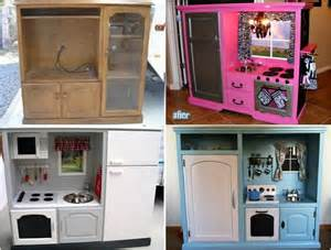 Kids Kitchen Furniture entertainment unit repurposed into kids play kitchen