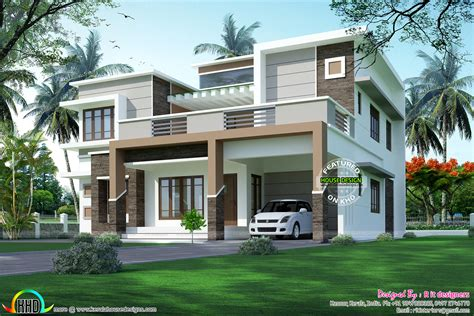 kerala style contemporary house plans modern flat roof sober colored home kerala home design and floor plans