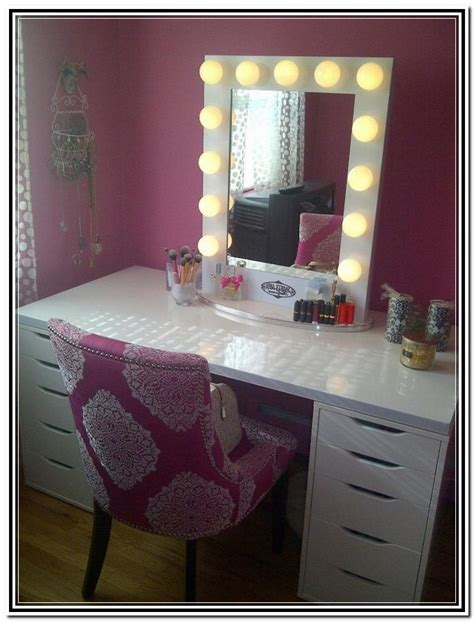 Lit Vanity Table by Vanity Table With Lighted Mirror And Bench Home Design