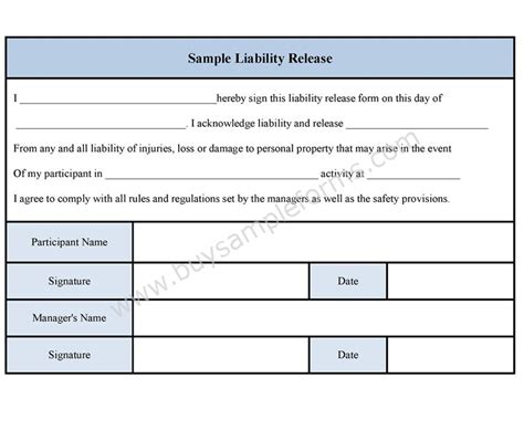 financial release form template sle liability release form