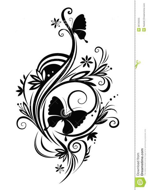 clipart fiori stilizzati farfalle ed uccelli stilizzati illustrazione vettoriale
