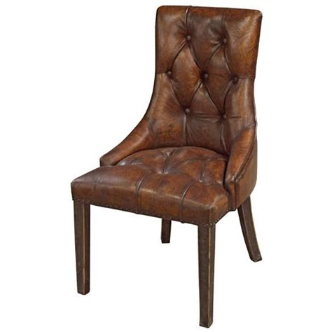 Leather Tufted Dining Chair Anneau Rustic Lodge Tufted Vintage Brown Leather Dining Chair Kathy Kuo Home
