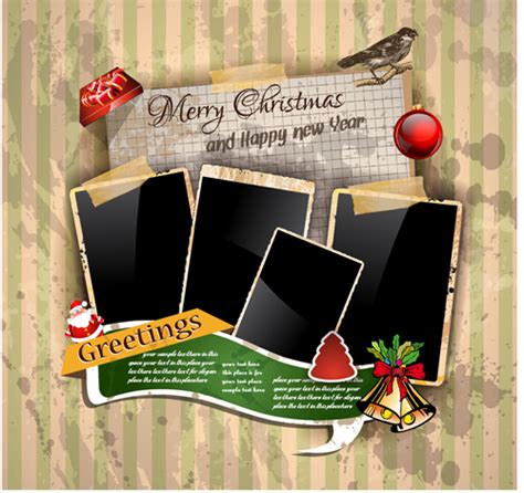 Christmas Greetings Cards Vector Template 01 Vector Card Free Download Photo Cards Templates Free Downloads