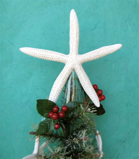 starfish tree topper choose natural clear glitter or