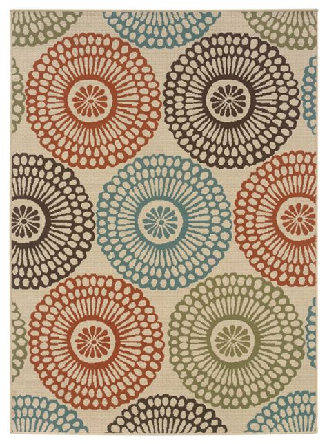 colorful circle rugs 7 10 quot x10 10 quot indoor and outdoor beige area rug with colorful circle pattern contemporary