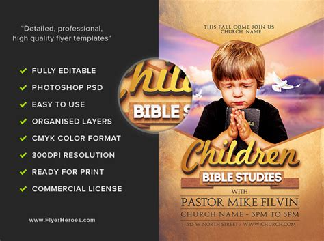 bible studies flyer template flyerheroes