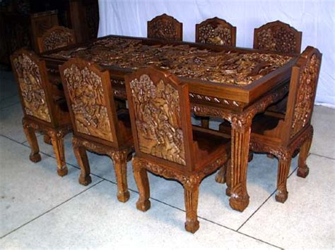 Thai Dining Table Wood Furniture Carved Dining Room Set Executive Office Desk With Chair Teak Cabinet