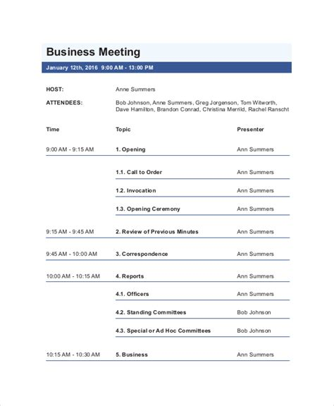 business meeting agenda template 10 free word pdf