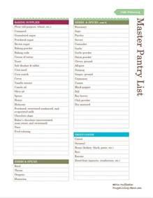 free printable pantry master list