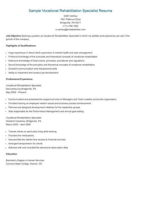 Vocational Rehabilitation Specialist Sle Resume by 17 Best Images About Resame On Skin Care Specialist Supply Management And