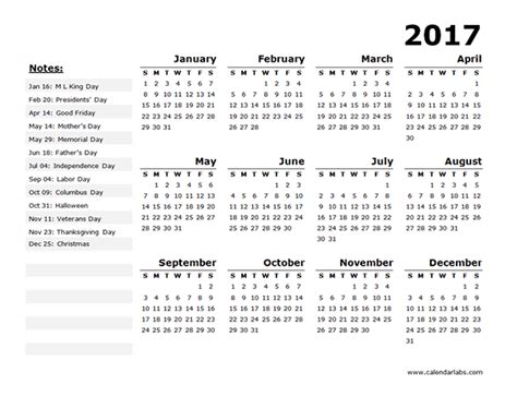 printable yearly vacation calendar holiday calendar year 2017 2017 calendar