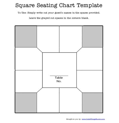 free printable square table seating chart template for
