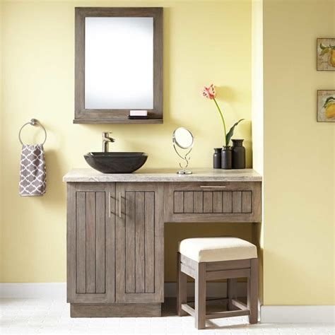 bathroom vanities with makeup area 48 quot montara teak vessel sink vanity with makeup area