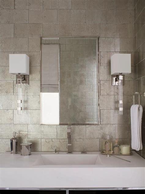 white  gray bathroom  gray metallic tiles