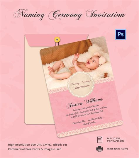 ceremony cards templates baby shower invitation card for naming ceremony and name