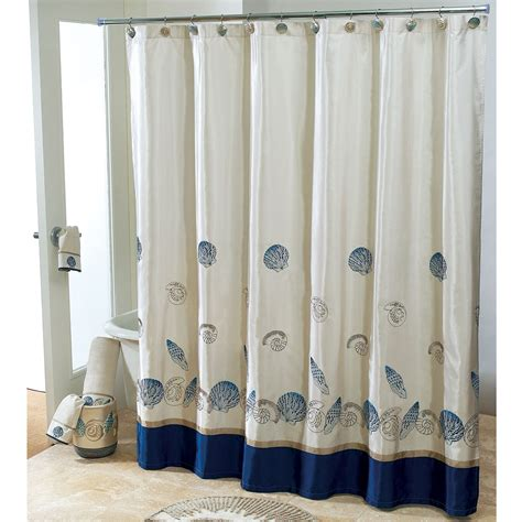 Wonderful white fabric and blue base extra long shower curtain added stainless stell rods also