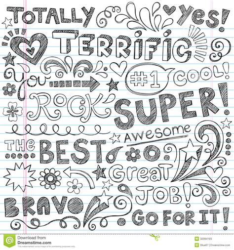 doodle writing terrific work praise phrases sketchy doodle encour stock