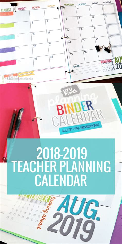 Free Teacher Calendar printable 2018 2019 calendar template kindergartenworks
