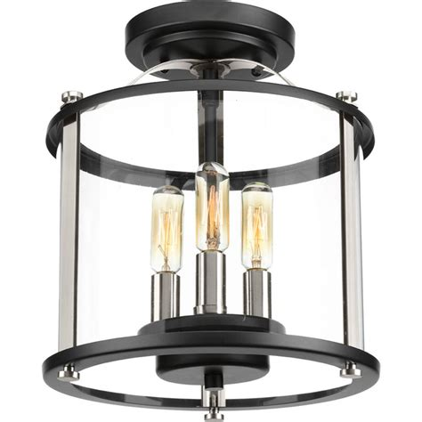 home depot outdoor flush mount lighting progress lighting squire collection 3 light black outdoor