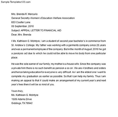 Financial Aid Appeal Request Letter Financial Aid Appeal Letter Template Sle Templates