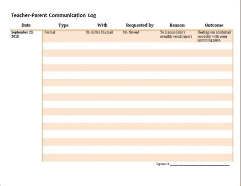 communication log template parent communication templates simple pictures to