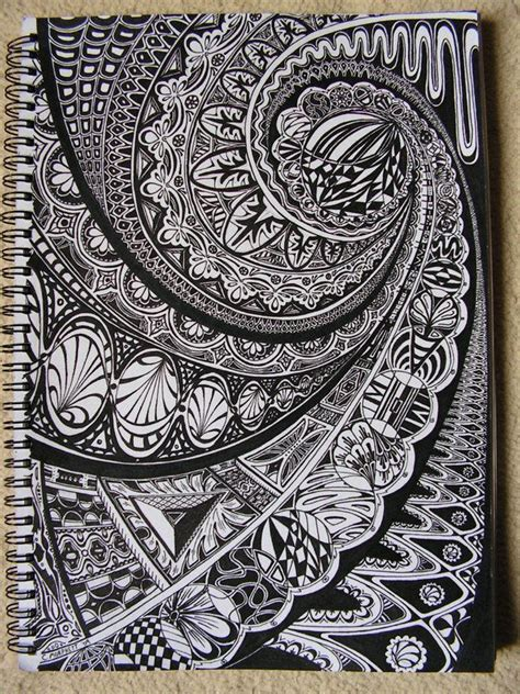 amaze zentangle pattern zentangle black ink on white paper visual journal