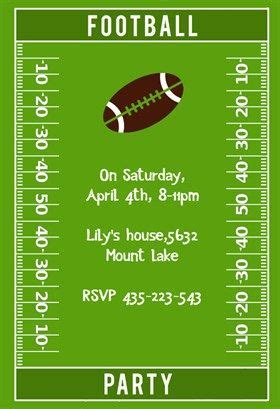 Quot Football Party Quot Printable Invitation Template Customize Add Text And Photos Print Or Football Birthday Invitation Templates Free