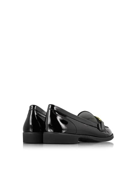 michael kors patent leather loafers michael kors ansley black patent leather loafer in black