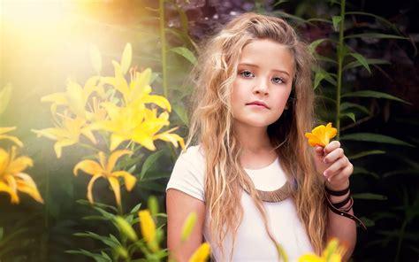onionib little girl cute little girl portrait yellow flowers wallpaper
