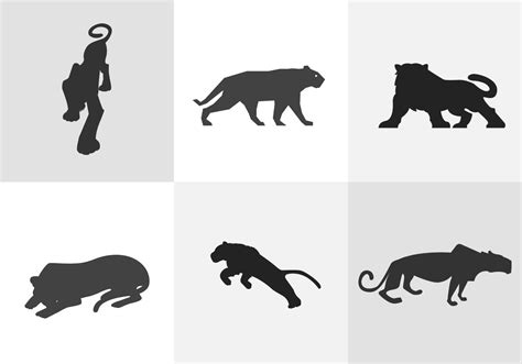silhouette vector tiger silhouette download free vector art stock