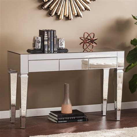 southern enterprises mirrored furniture darien contemporary mirrored console table southern
