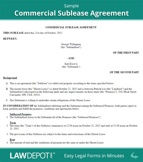 Commercial Sublease Agreement Template Us Lawdepot Commercial Sublease Agreement Template California