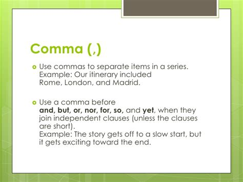 comma rules comma rule 1 use a comma in a conventional situation