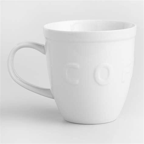 coffee mugs white embossed coffee mugs set of 2 world market