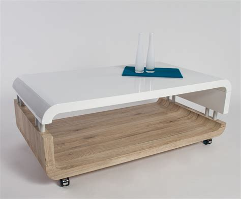 Table Basse Chene Et Blanc