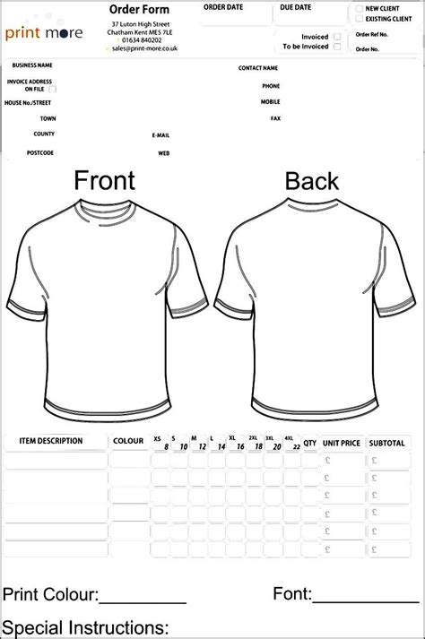 blank t shirts for vinyl blank clothing order form template besttemplates123