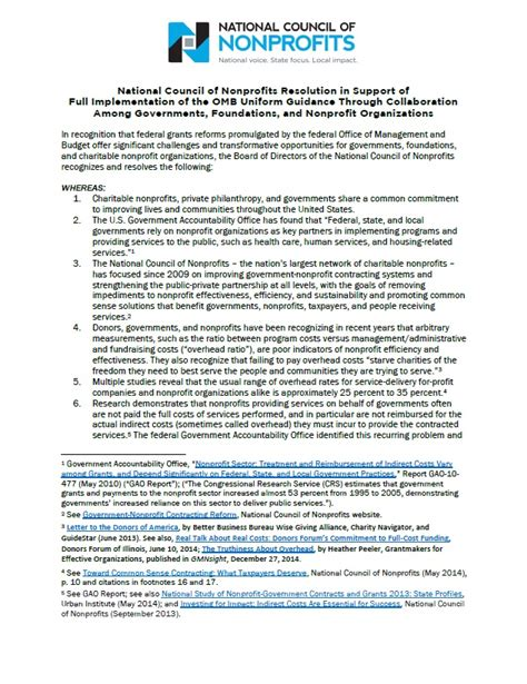 printable version of uniform guidance national council of nonprofits resolution in support of